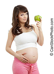 alimento sano, mujer que come, embarazada