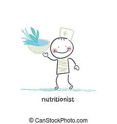 alimento sano, nutricionista, tazón, tenencia
