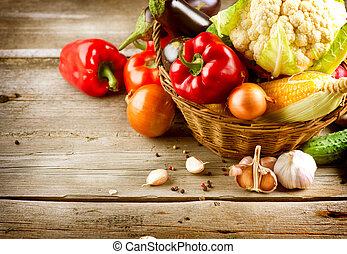 alimento, sano, orgánico, vegetables., bio