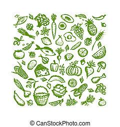 alimento sano, plano de fondo, bosquejo, para, su, diseño