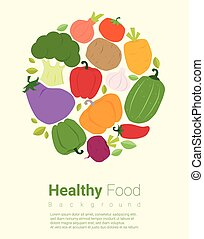 alimento sano, plano de fondo, con, vegetal, 2