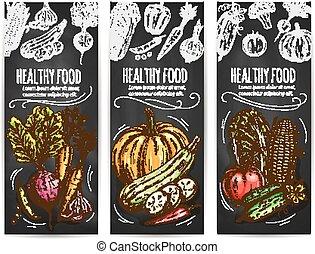 alimento sano, vegetales, bosquejo, banderas
