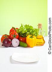 alimento sano, verduras frescas, naturaleza muerta, y, enfocado, placa blanca, en frente