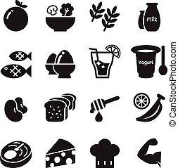 alimento sano, y, haga dieta alimento, iconos, conjunto, vector