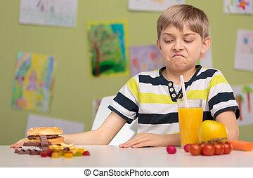 alimento saudável, aluno, escolher