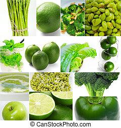 alimento saudável, colagem, verde, cobrança