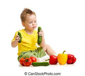 alimento saudável, comer, criança