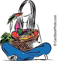 alimento saudável, comer mulher, illustrat