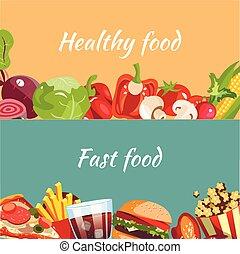 alimento, saudável, conceitos, rapidamente, alimento.