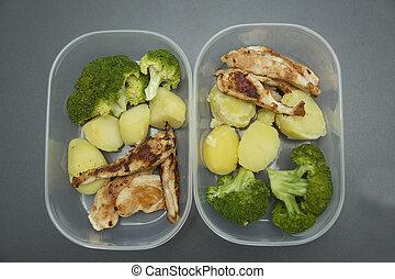 alimento saudável, em, tupperware