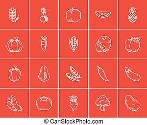 alimento saudável, esboço, set., ícone