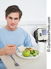alimento saudável, hospitalar, comer, paciente