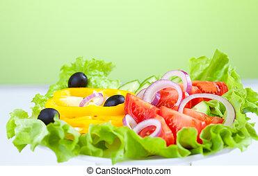 alimento saudável, legume fresco, salada