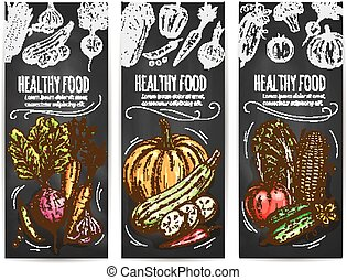 alimento saudável, legumes, esboço, bandeiras