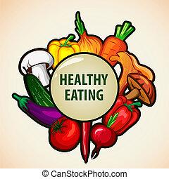alimento saudável, menu, fundo