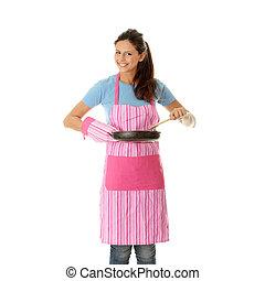 alimento saudável, mulher, cozinhar, jovem