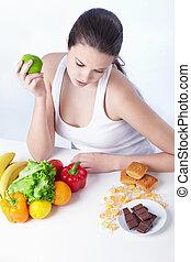 alimento saudável, ou, insalubre