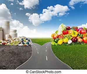 alimento saudável, ou, médico, pílulas