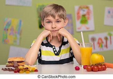 alimento, saudável, ou, rapidamente