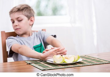 alimento saudável, recusar, comer
