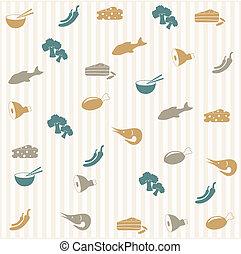 alimento, seamless, patrón
