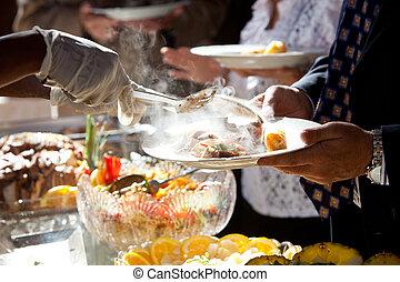 alimento, ser, servido, buffet, estilo