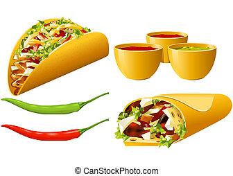 alimento, serie, -, mexicano