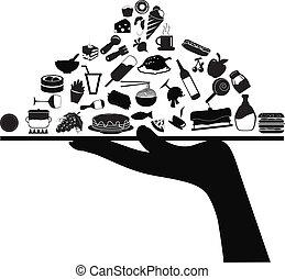 alimento, servindo, ícones