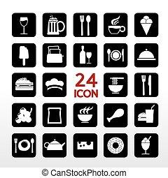 alimento, set., bebida, ícone