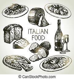 alimento, set., ilustração, italiano, vetorial, esboço, mão, desenhado