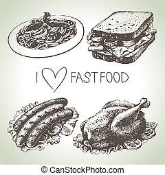 alimento, set., rapidamente, mão, ilustrações, desenhado
