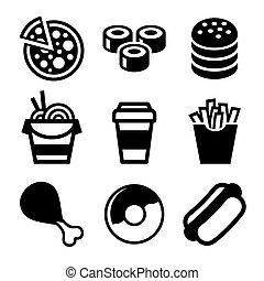alimento, set., vetorial, rapidamente, ícones