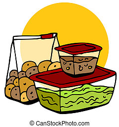 alimento, sobrante, almacenamiento