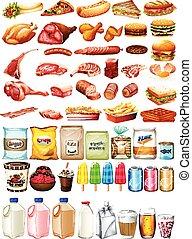alimento, sobremesa, diferente, tipo