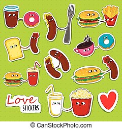 alimento, stickers., amor, rapidamente