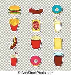alimento, stickers., caricatura, rapidamente