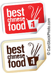 alimento, stickers., chinês