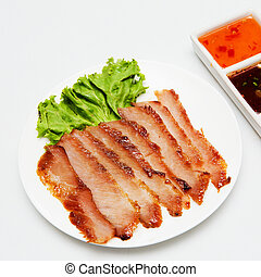 alimento, suina, tailandês, estilo, assado