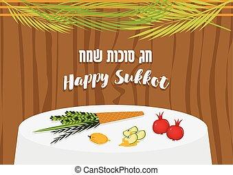 alimento, sukkot., ornamentos, ilustración, feriado, tabla, vector, judío, sukkah