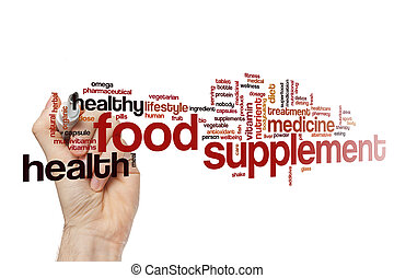 alimento, suplemento, palavra, nuvem