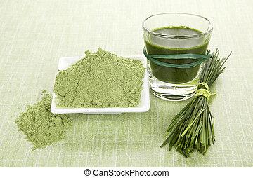 alimento, supplements., verde