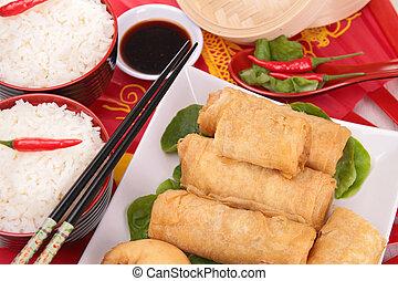 alimento, surtido, asia