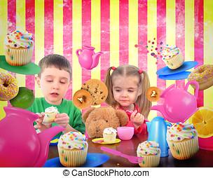 alimento, té, niños, fiesta