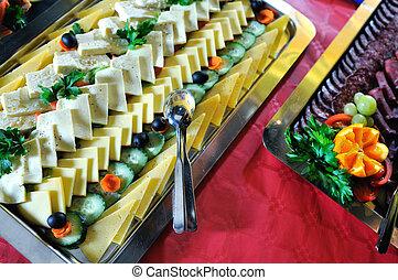 alimento, tabela, catering, arranjo