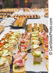 alimento, tabela, decoração, catering