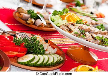 alimento, tabela, decoração, jogo, catering