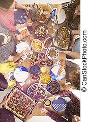 alimento, tabela, vegetariano, cheio