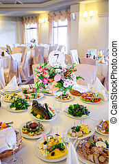 alimento, tabla, boda