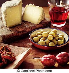 alimento, tabla, italiano