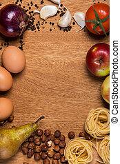 alimento, tabla, kitchen.
